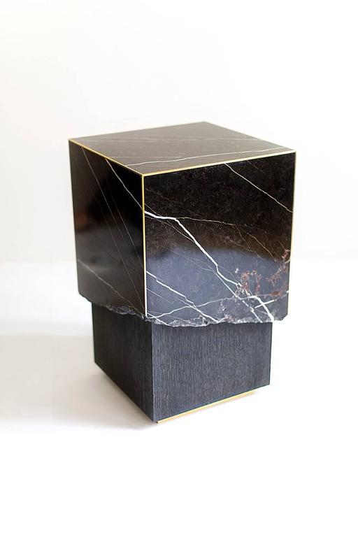 Meta End Table In Black Marble Dyed Solid White Oak With