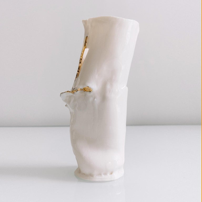 White Ceramic Vase In Porcelain And Gold For Sale At 1stdibs