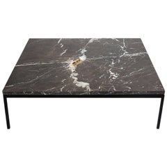 Found Square Coffee Table in Black Marble and Black Steel