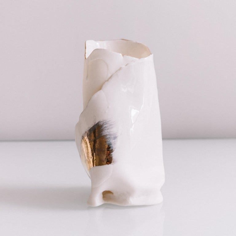 White Porcelain And Gold Vase For Sale At 1stdibs