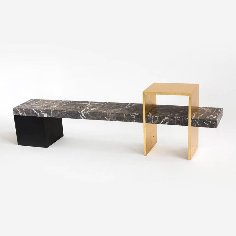 Found long bench in grey marble steel gold leaf and for Found furniture