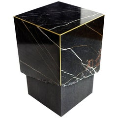 Meta End Table in Black Marble, Dyed Solid White Oak with Brass Details