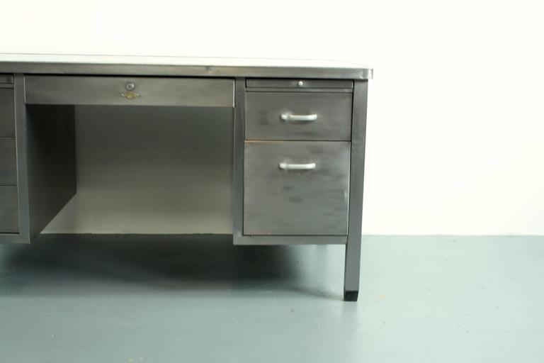 vintage industrial british art metal stripped and polished steel rh 1stdibs com used metal desk for sale metal tanker desk for sale
