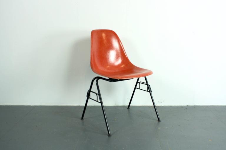charles eames herman miller dss chair in blood orange on original