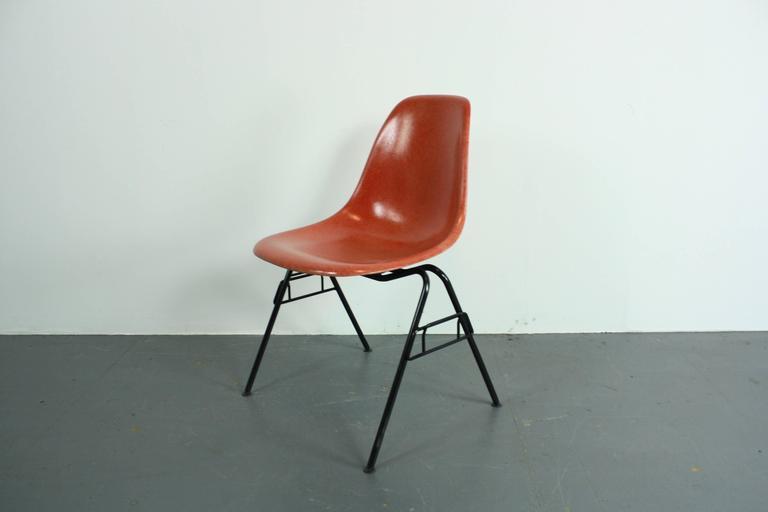 Charles Eames Herman Miller DSS Chair In Blood Orange On Original Stacking Ba