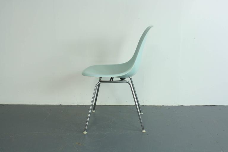 very rare eames for herman miller fibreglass shell chair in duck egg