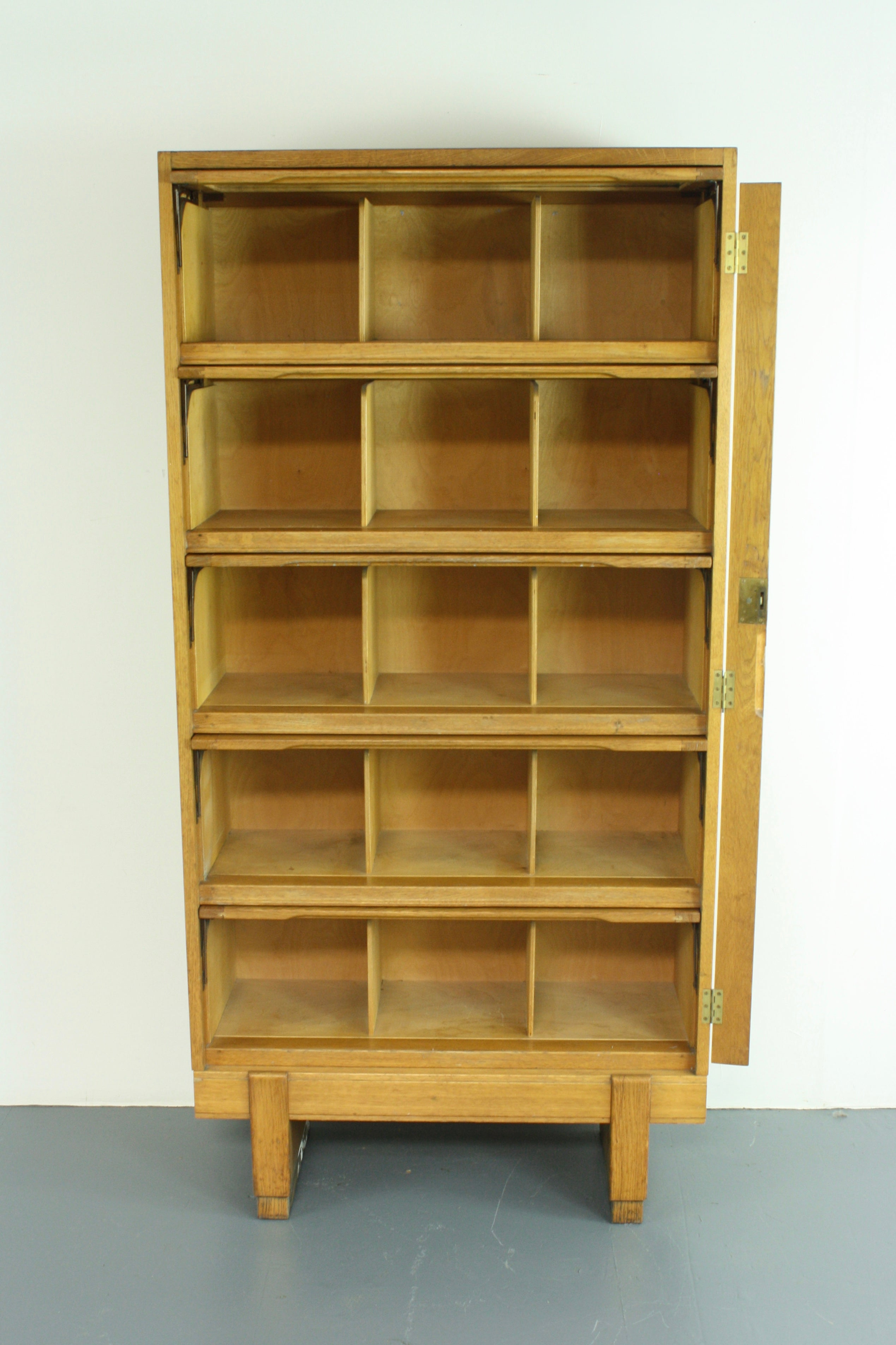 Vintage Midcentury British Staverton Glass Fronted Bookcase Cabinet For Sale