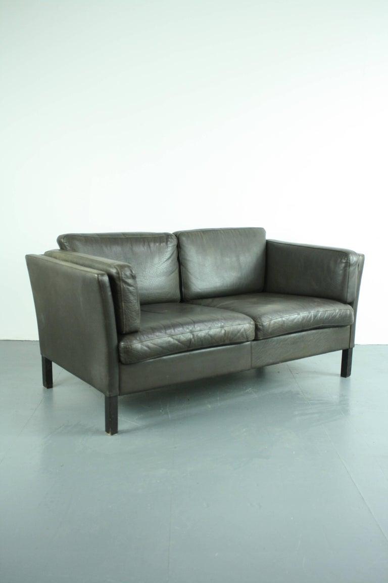 Verzauberkunst Sofa 150 Cm Referenz Von Lovely Dark Brown Leather Mogensen Style, 1970s.