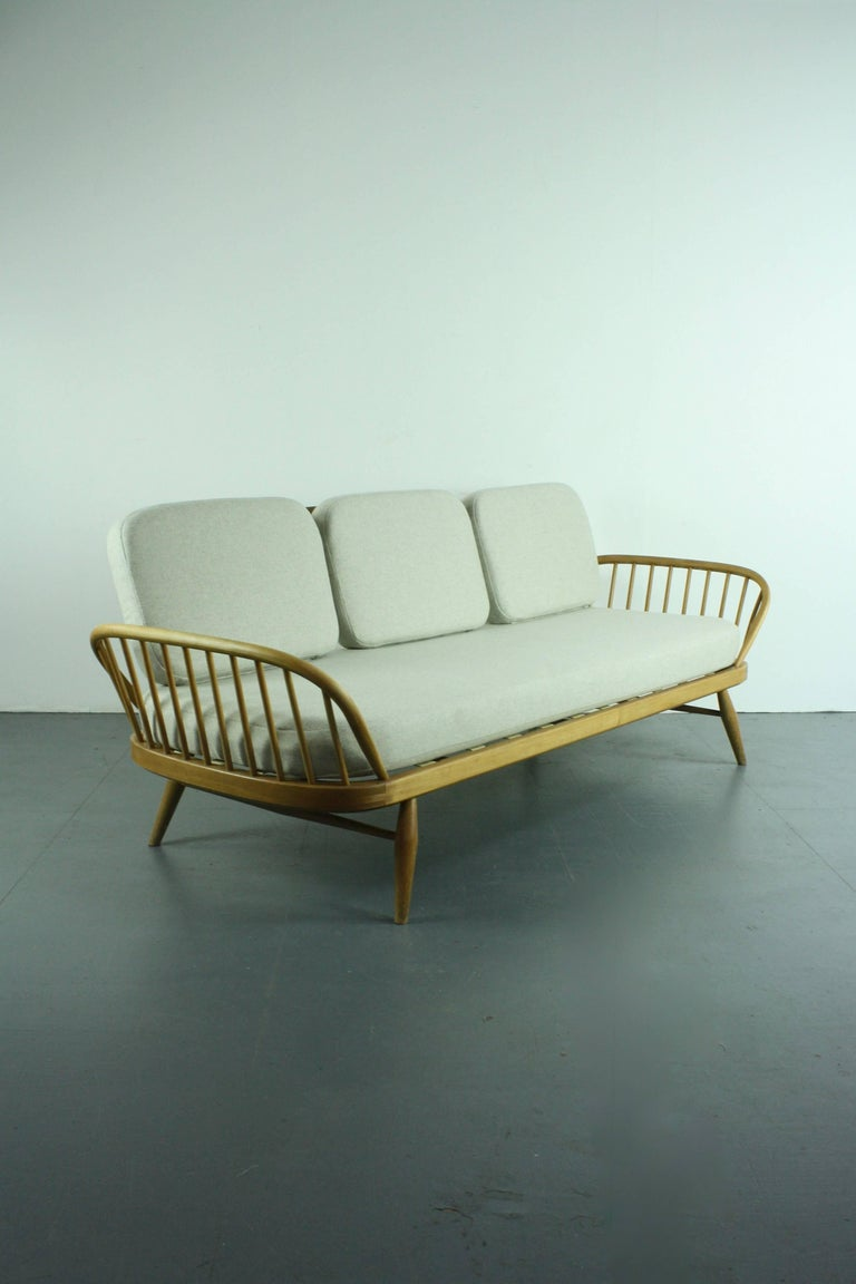 Vintage Ercol 355 Studio Couch Sofa Bed In Beech With Grey Upholstery For Sale At 1stdibs