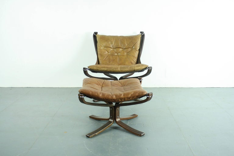 norwegian vintage office chair. Norwegian Vintage 1970s Low Back Camel Leather Falcon Chair And Ottoman By Sigurd Resell For Sale Office