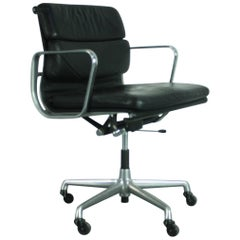 Vintage Black Leather Soft Pad Aluminium Group Chair by Charles & Ray Eames