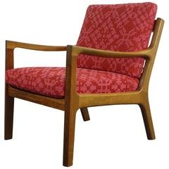 Ole Wanscher for France & Son, Denmark, 1960s Teak Lounge Chair Geo Upholstery
