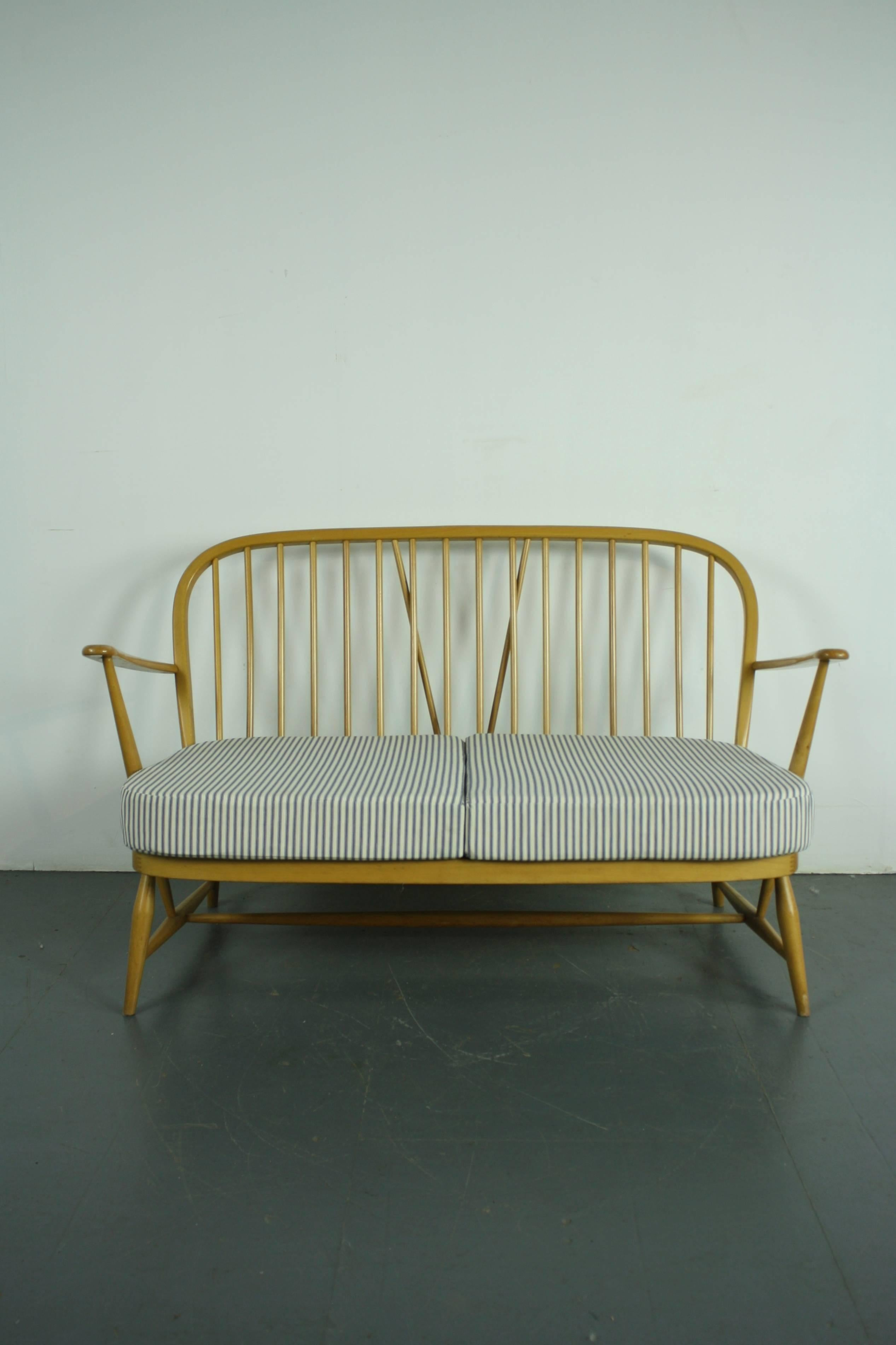 English Refurbished Vintage Ercol Windsor Two Seat Sofa Upholstered In  French Ticking For Sale