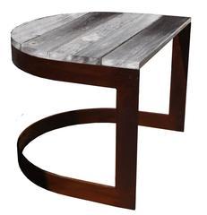 Reclaimed Wood U-Shaped Side Table