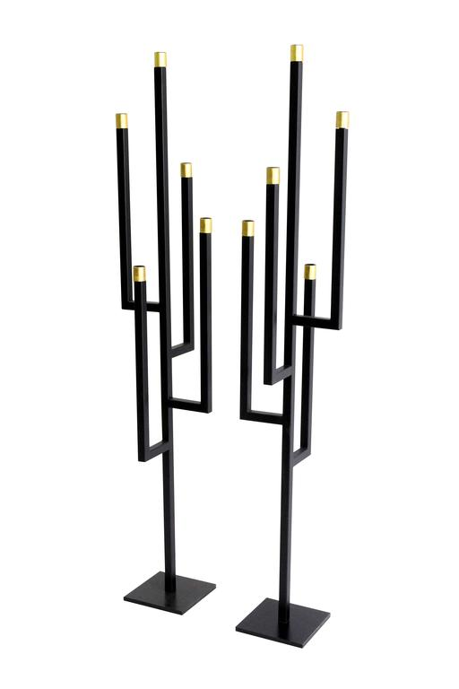 Modern Contemporary Pair of Gilded Steel