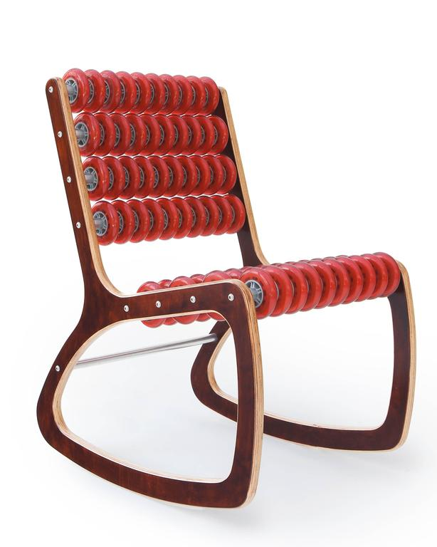 Razor Rocker Rocking Chair in Walnut and Translucent Red by Philip Caggiano 3