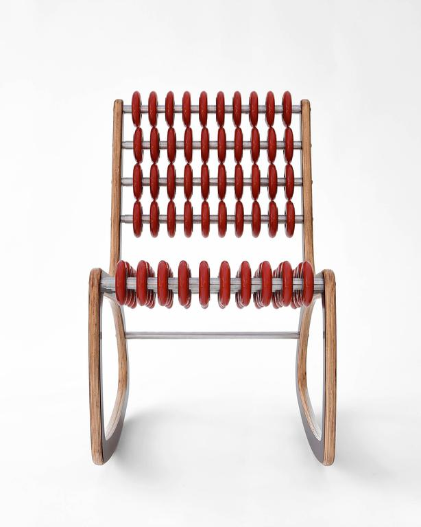 Razor Rocker Rocking Chair in Walnut and Translucent Red by Philip Caggiano 4