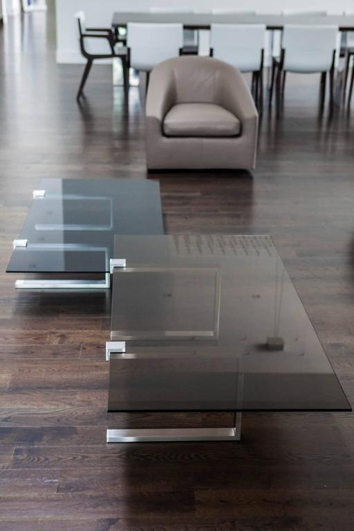 Clasp Table Stainless Steel Brushed Gray Tint Glass For