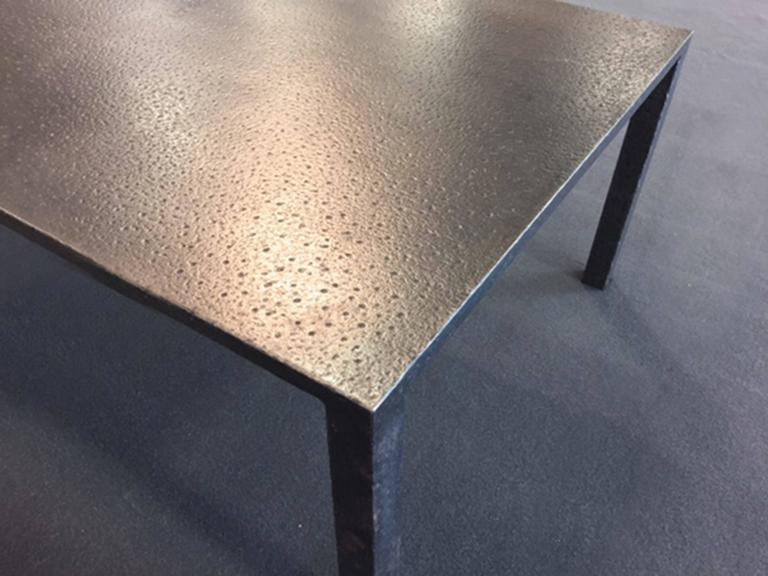American Hand Hammered Steel Coffee Table For Sale