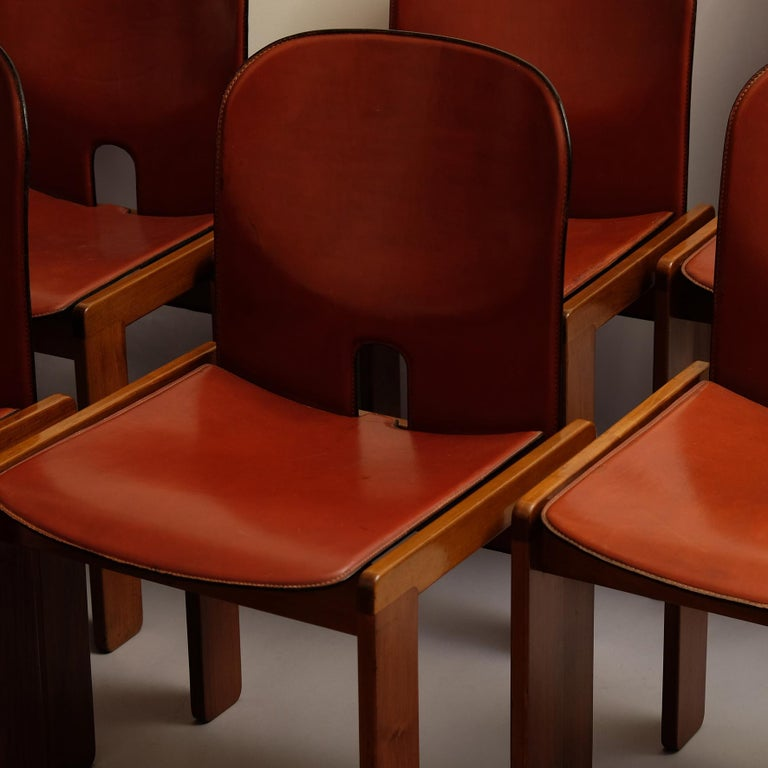 Modern Afra & Tobia Scarpa, a Set of Six Chairs, Model 121, Cassina, 1960s For Sale
