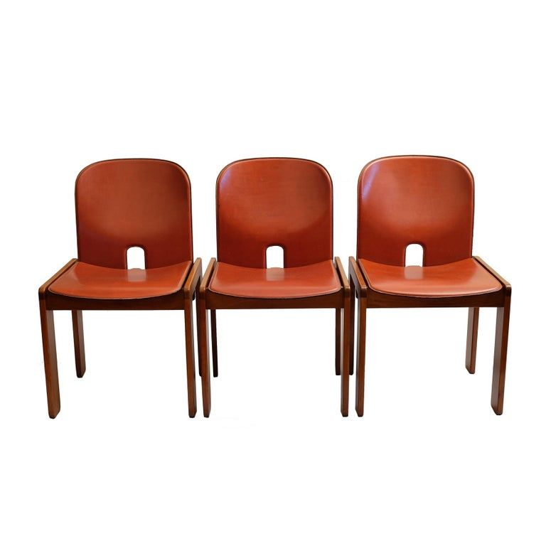 Italian Afra & Tobia Scarpa, a Set of Six Chairs, Model 121, Cassina, 1960s For Sale