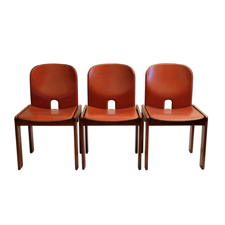 Carved Afra & Tobia Scarpa, a Set of Six Chairs, Model 121, Cassina, 1960s For Sale