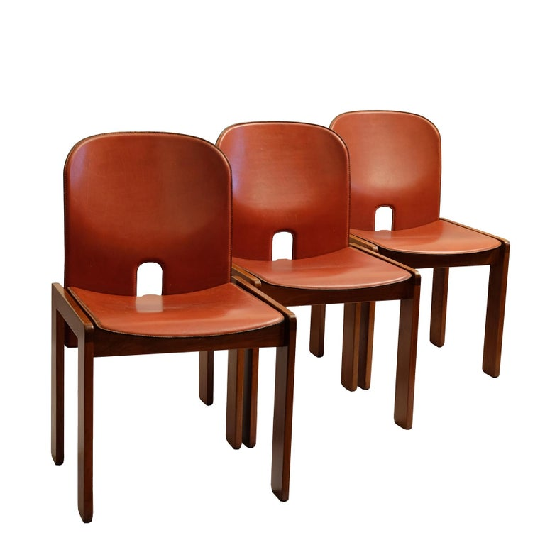 Walnut Afra & Tobia Scarpa, a Set of Six Chairs, Model 121, Cassina, 1960s For Sale