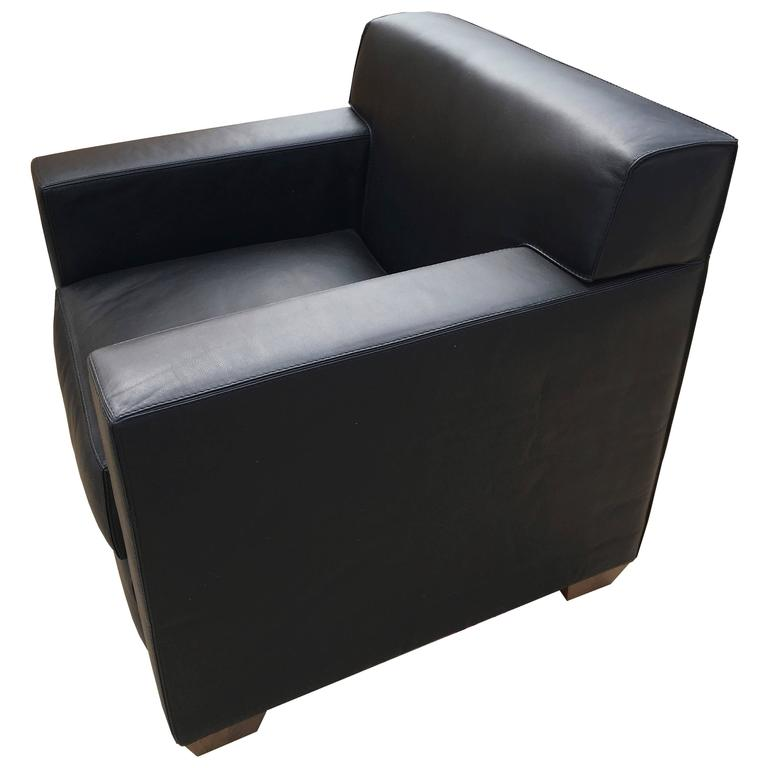 Art Deco Jean Michel Frank U0026 Hermès, A Pair Of Black Leather Armchairs,