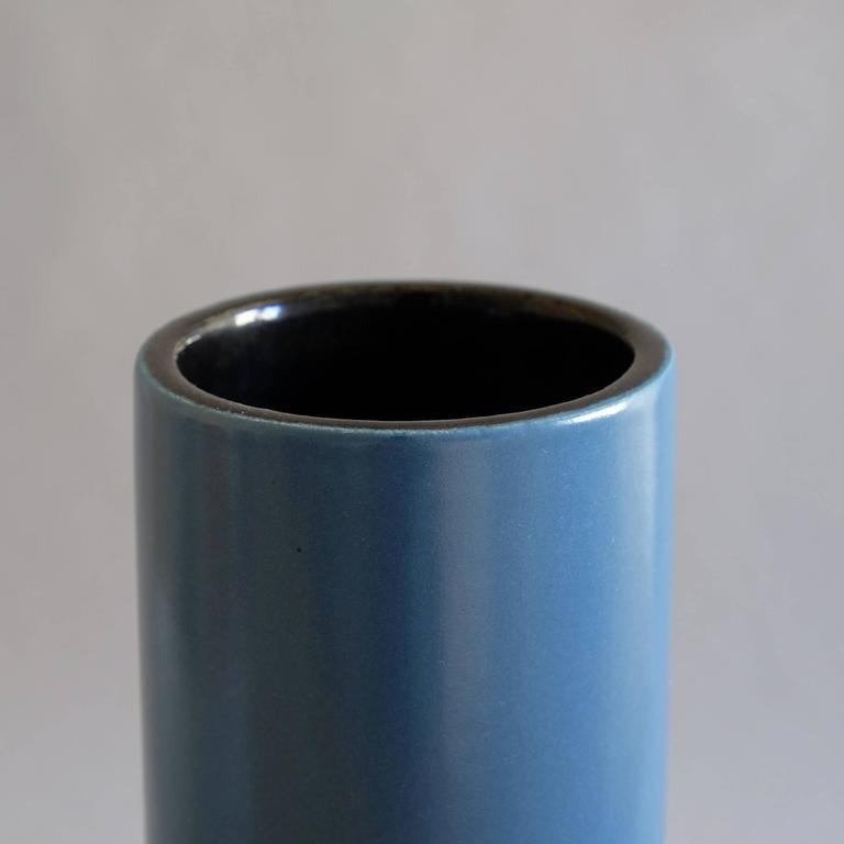 Georges Jouve, a Blue Cylinder Vase, circa 1960 2