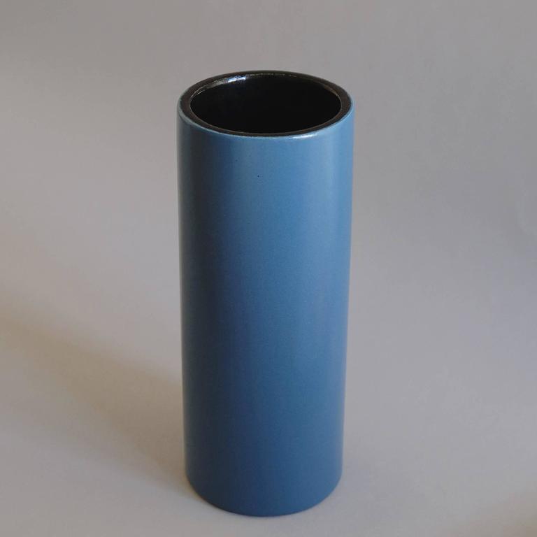 Georges Jouve, a Blue Cylinder Vase, circa 1960 3