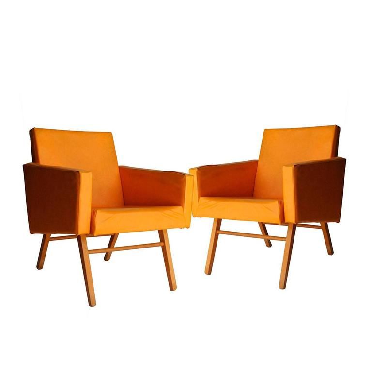 Oak and Yellow Faux Leather Armchairs, Czech Republic, 1960