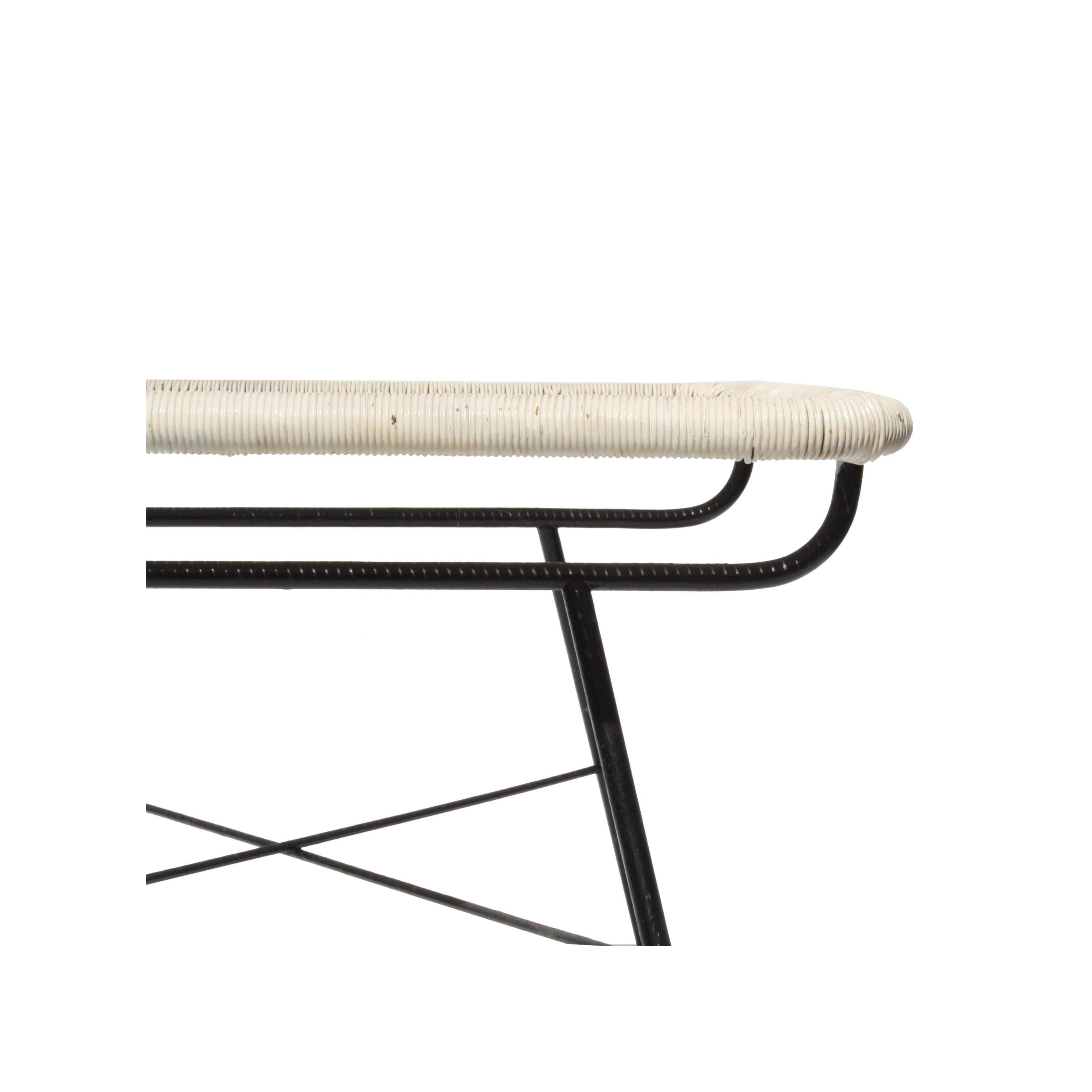 Mid 20th Century Side Table. Metallic Structure And Synthetic Fiber, Italy,  1960