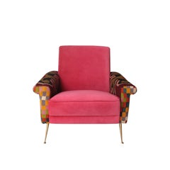 Armchair Upholstered in Two Different Fabrics. Italy, 1950