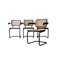 Set of Four Cesca B64 Model Chairs Lacquered in Black, Italy, 1962