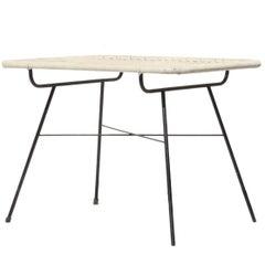 Midcentury Black White Metal Synthetic Fiber Italian Side Auxiliar Table, 1960
