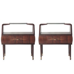 Midcentury Brown Rosewood Opaline Glass Italian Pair of Bedside Tables, 1950