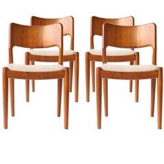 Niels Otto Møller Midcentury Velvet Teak Wood Danish Set of Four Chairs, 1950