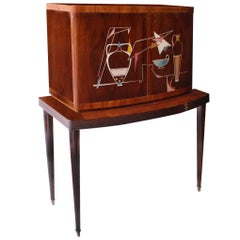 Midcentury Multicolor Rosewood Lemon Tree Italian Bar Cabinet, 1950