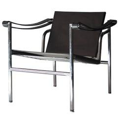 Postmodern After Le Corbusier Black Leather Tubular Steel Italian Armchair, 1980