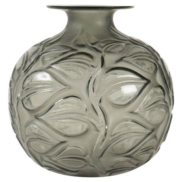 """René Lalique Grey Vase """"Sophora"""" For Sale"""