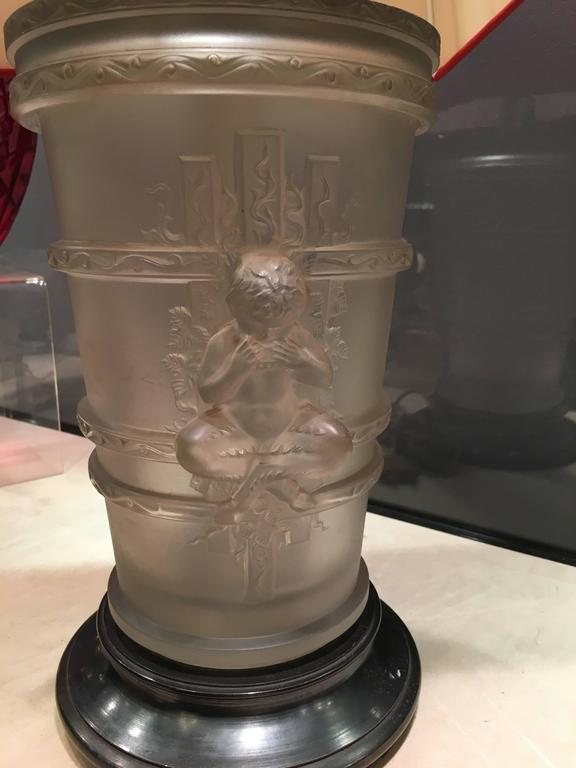 Marc Lalique Glass Lamp For Sale At 1stdibs