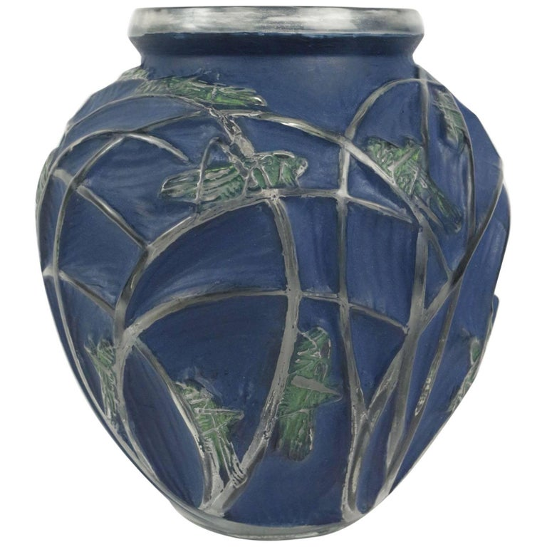 "René Lalique Vase ""Sauterelles"" For Sale"