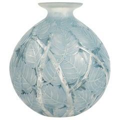 "René Lalique ""Milan"" Blue Stained Glass Vase"