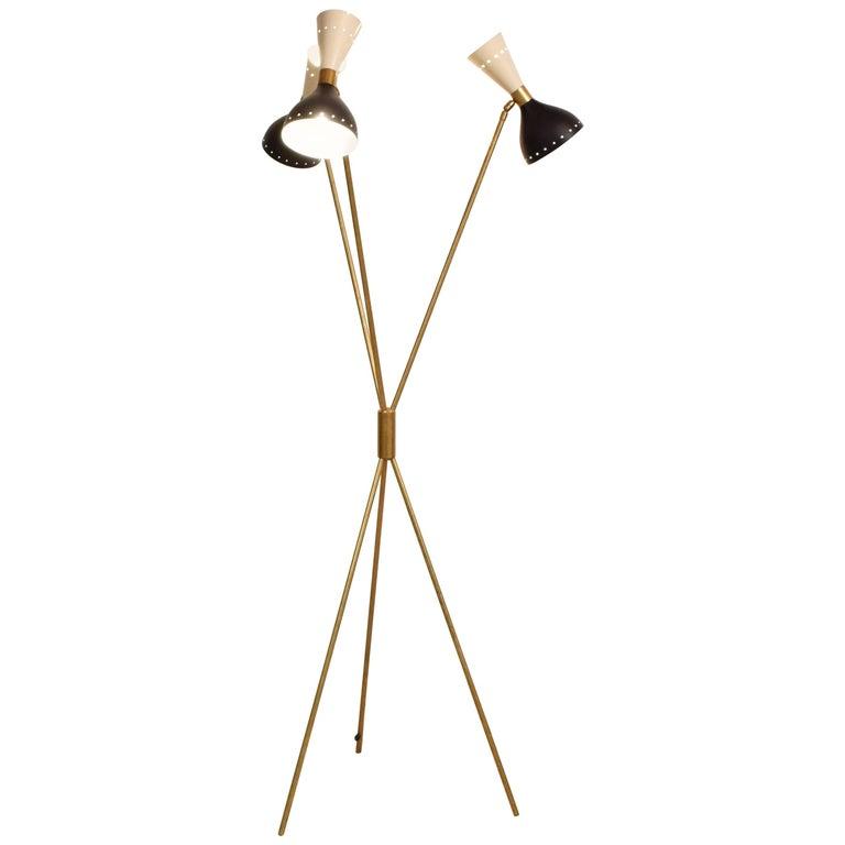 Stilnovo Style Brass Tripod Floor Lamp