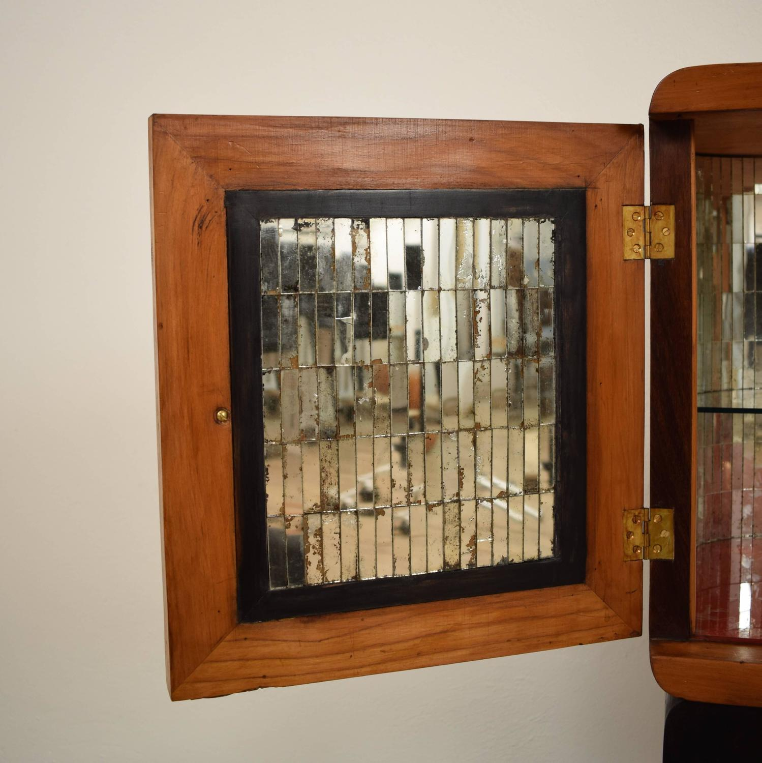 unusual italian mirrored glass 1940s bar cabinet for sale at 1stdibs. Black Bedroom Furniture Sets. Home Design Ideas