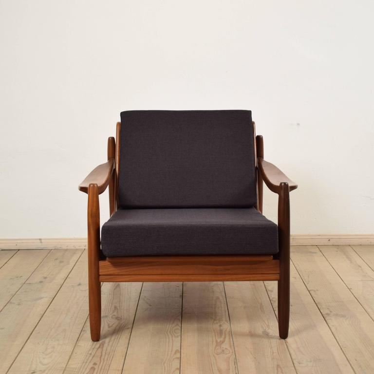 Pair of scandinavian style mid century modern teak for Mid century modern armchairs