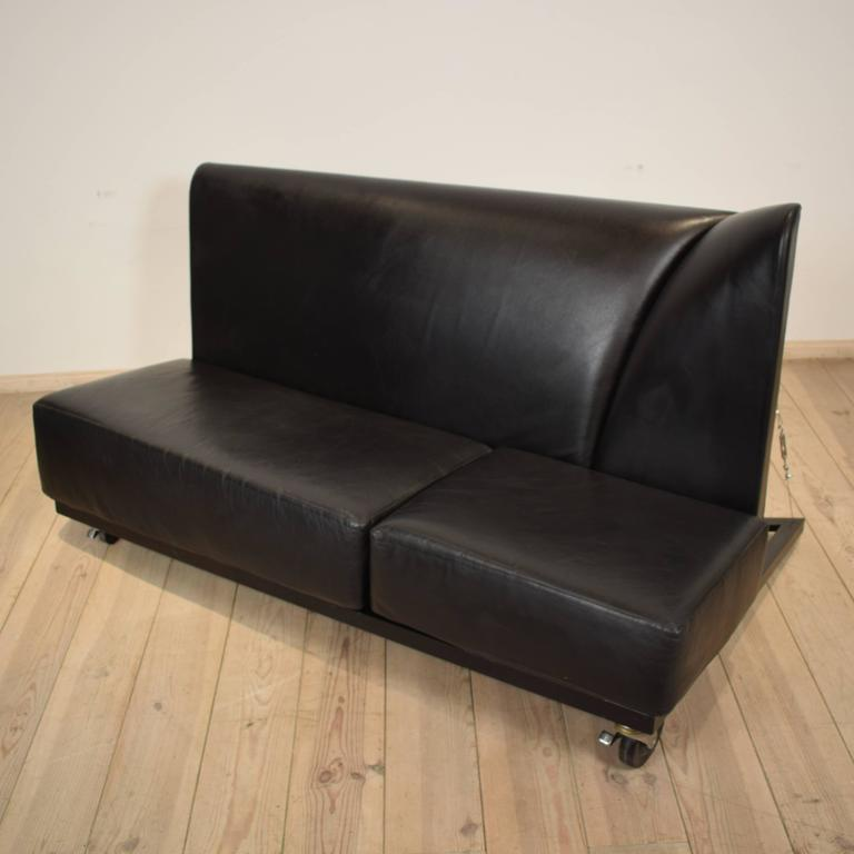 Post-Modern Black Leather Sofa by Pallucco and Rivier for Pallucco, 1988 For Sale