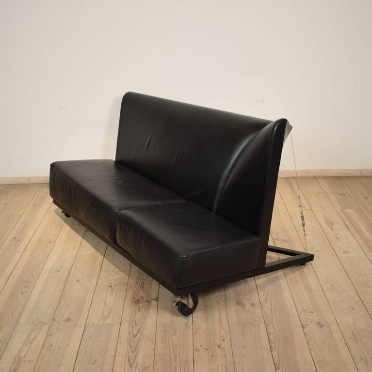 Italian Black Leather Sofa by Pallucco and Rivier for Pallucco, 1988 For Sale