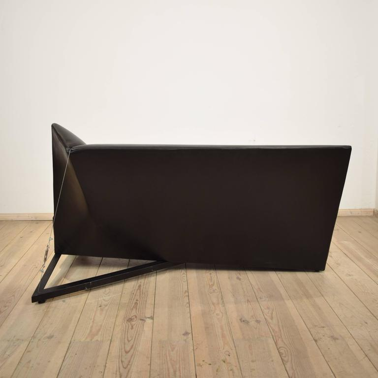 Late 20th Century Black Leather Sofa by Pallucco and Rivier for Pallucco, 1988 For Sale