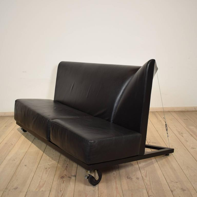 Black Leather Sofa by Pallucco and Rivier for Pallucco, 1988 For Sale 1